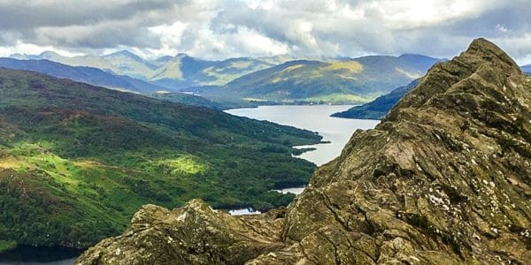 Panorama on Ben A'an hike in Loch Lomond and The Trossachs area in Scotland