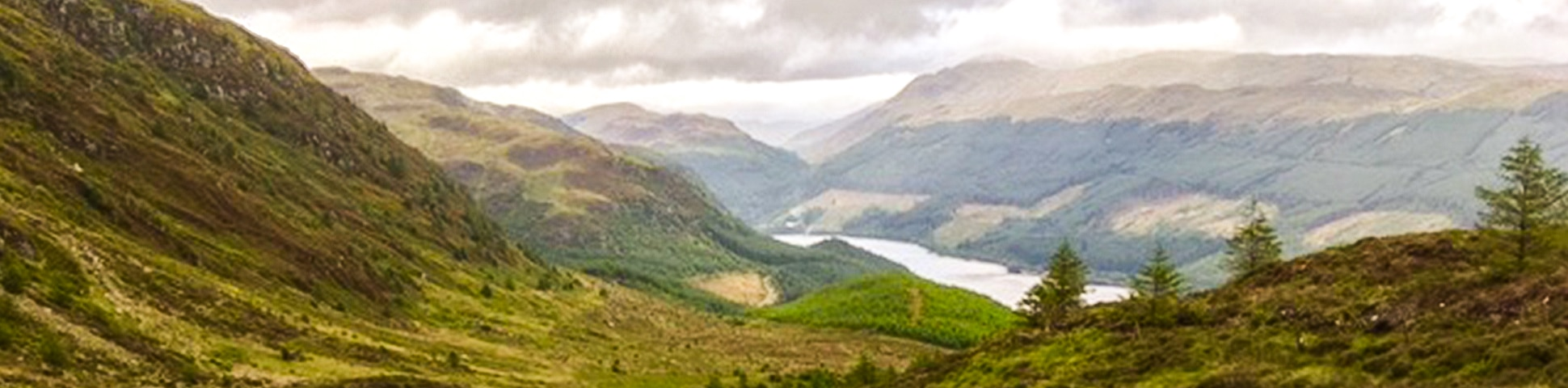 Panorama on Ben Ledi hike in Loch Lomond and The Trossachs area in Scotland
