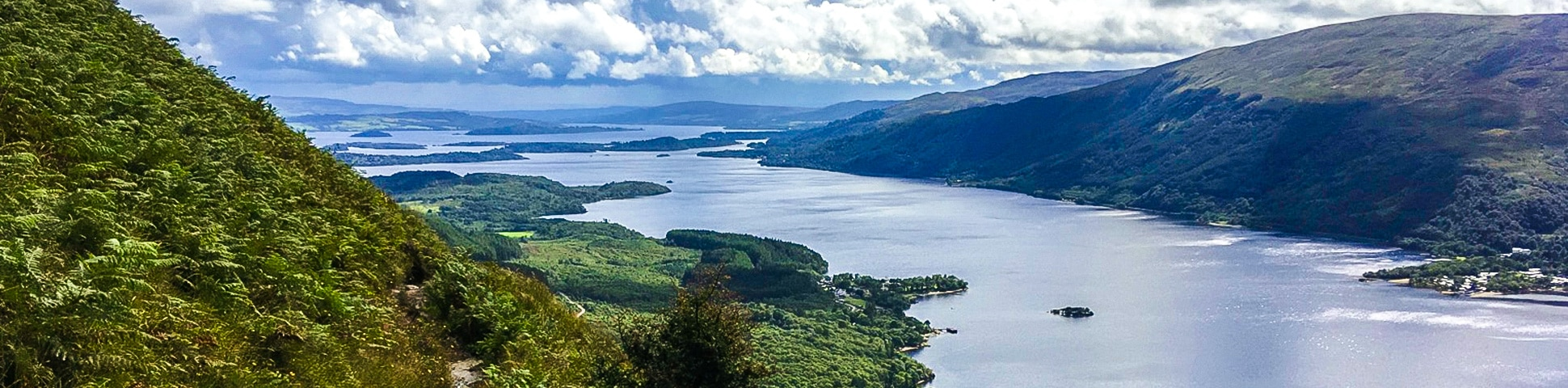 Panorama of Ben Lomond hike in Loch Lomond and The Trossachs area in Scotland