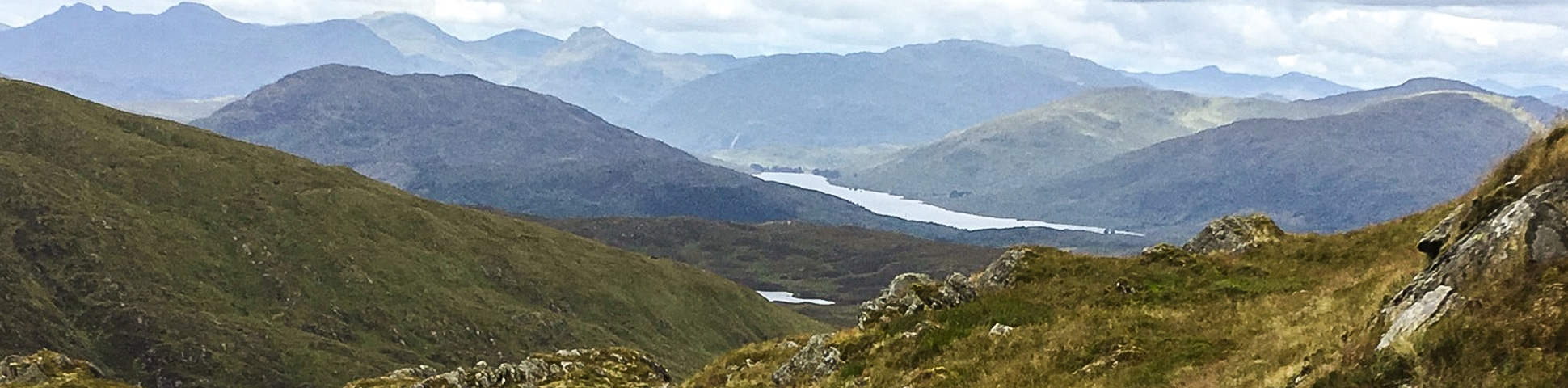 Panorama on Ben Venue from Loch Achray hike in Loch Lomond and The Trossachs area in Scotland