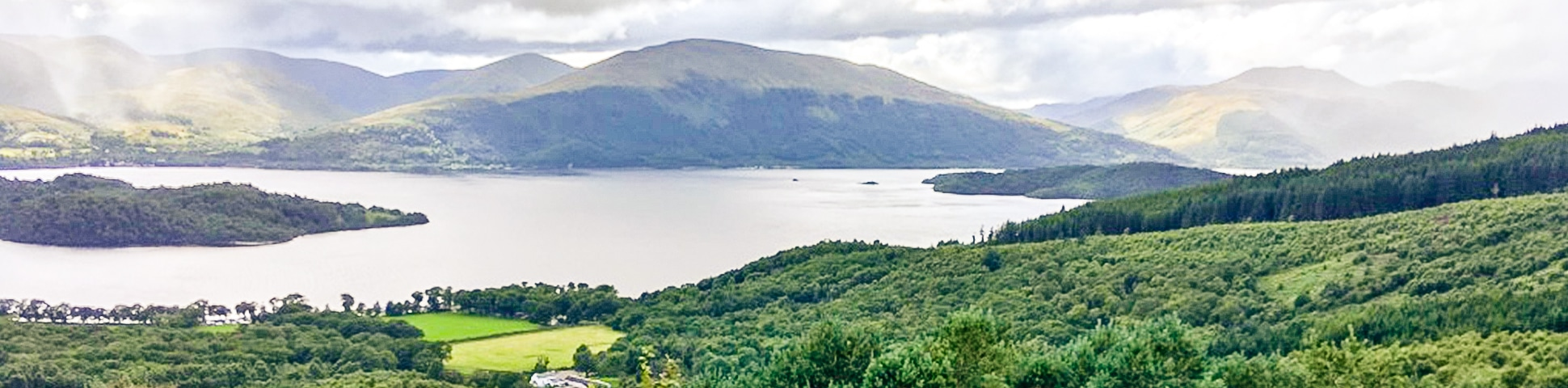 Panorama on Cashel forest hike in Loch Lomond and The Trossachs area in Scotland