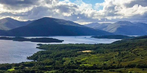 Panorama of Conic Hill hike in Loch Lomond and The Trossachs area in Scotland