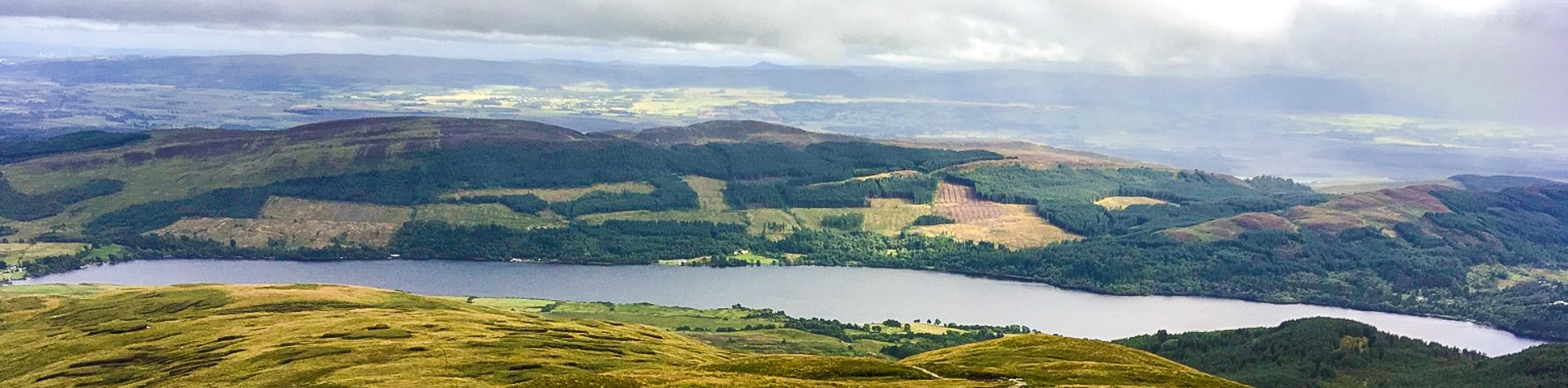 Panorama of Loch Venachar hike in Loch Lomond and The Trossachs area in Scotland