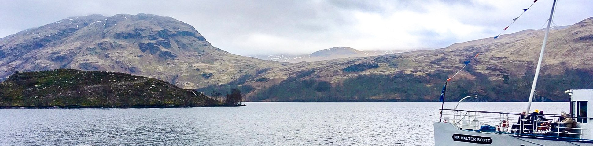 Panorama of The Great Trossachs Path 2 hike in Loch Lomond and The Trossachs area in Scotland