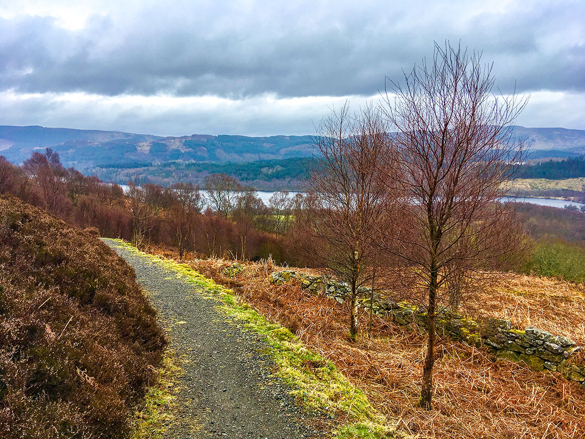 Slopes above Loch Venachar on The Great Trossachs Path 2 hike in Loch Lomond and The Trossachs region in Scotland