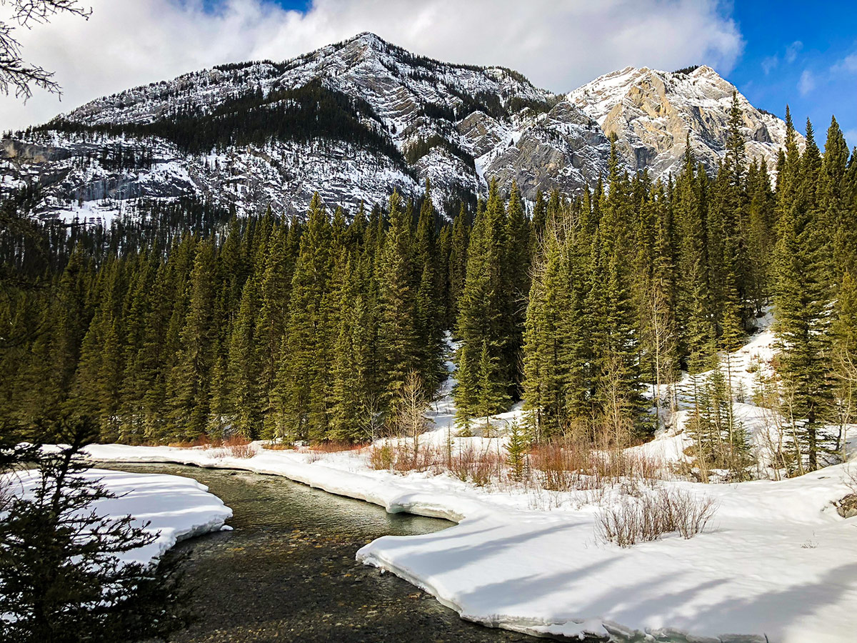 Stunning panorama on Goat Creek to Banff Springs XC ski trail in Canmore and Banff National Park