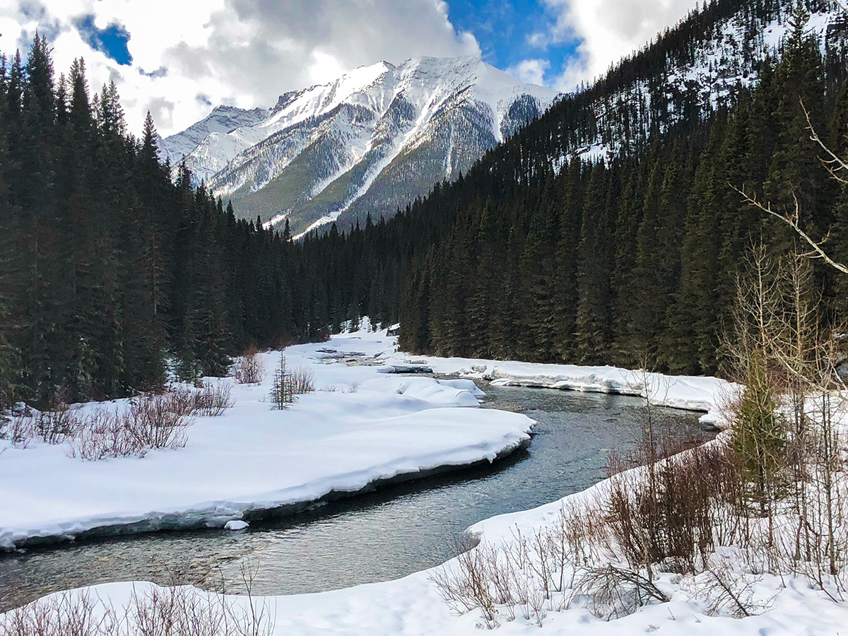 Big mountain scenery on Goat Creek to Banff Springs XC ski trail in Canmore and Banff National Park