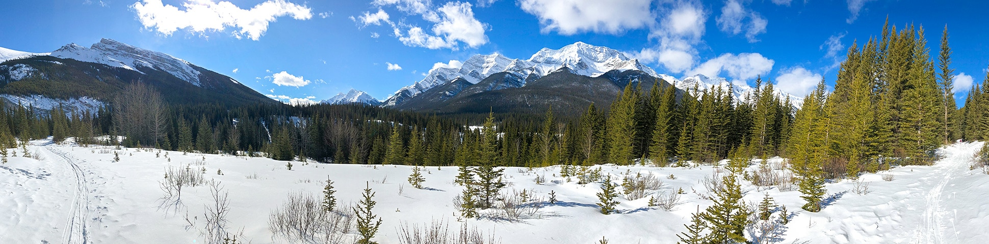 Panorama of Goat Creek to Banff Springs XC ski trail in Canmore and Banff National Park