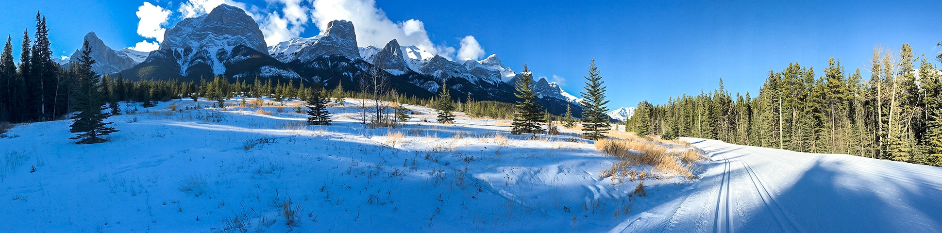 Panoramic view from Canmore Nordic Centre XC ski trail in Canmore near Banff National Park