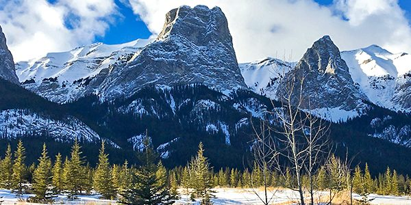 Scenery of Canmore Nordic Centre XC ski trail in Canmore near Banff National Park