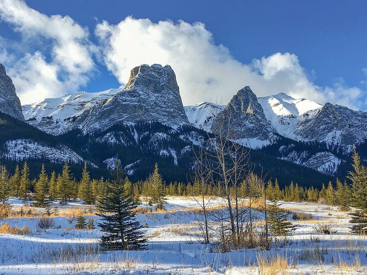 Snowy peaks along Canmore Nordic Centre XC ski trail in Canmore near Banff National Park