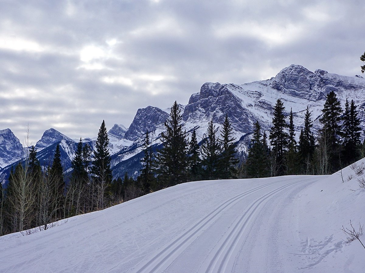 Wonderful views on Canmore Nordic Centre XC ski trail in Canmore near Banff National Park