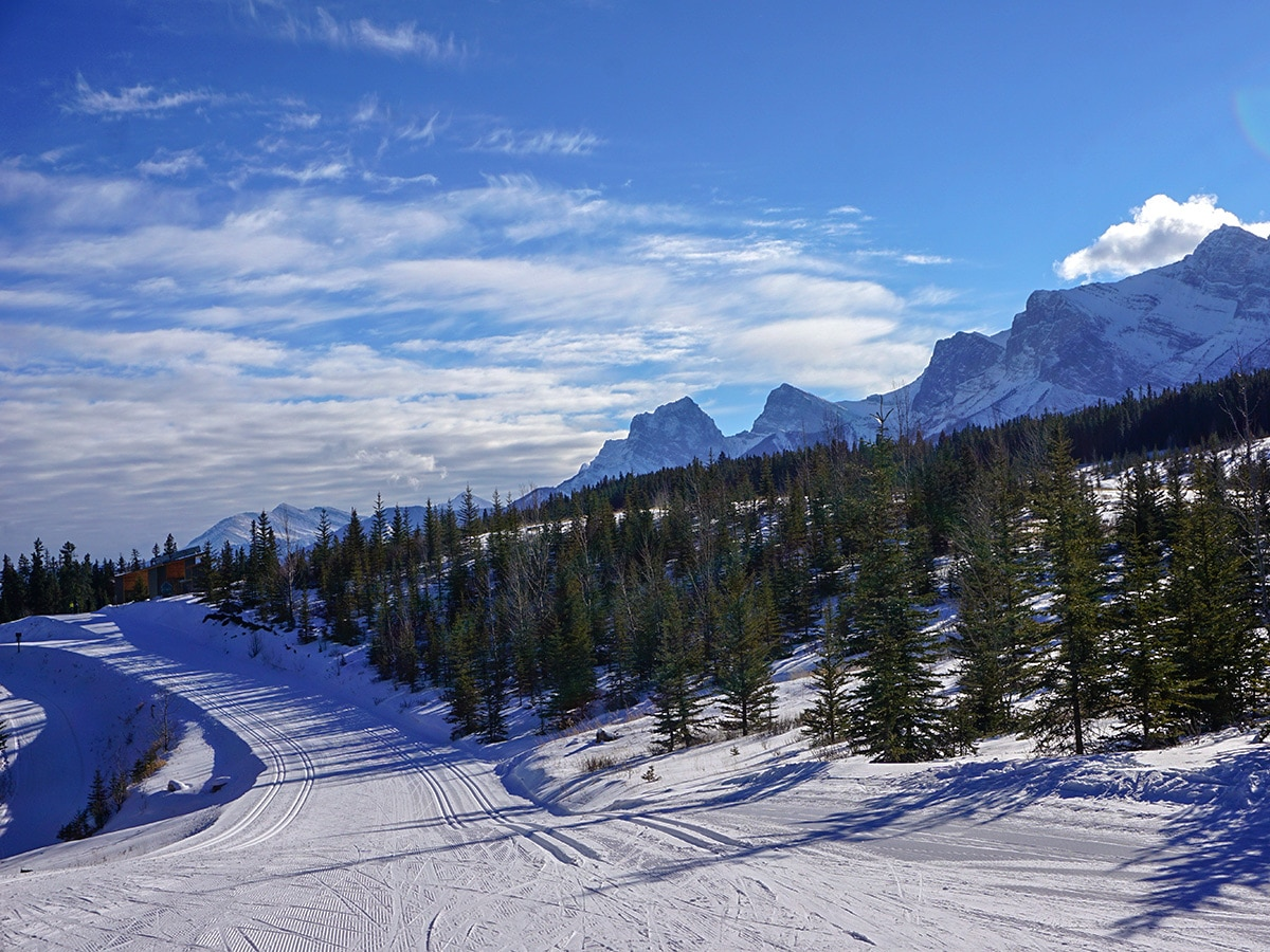 Good conditions and stunning views on Canmore Nordic Centre XC ski trail in Canmore near Banff National Park