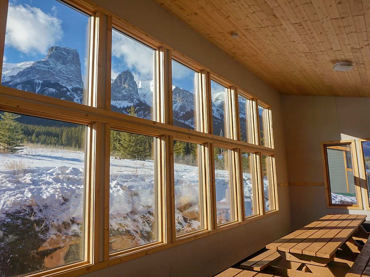 Incredible views from the hut on Canmore Nordic Centre XC ski trail in Canmore near Banff National Park