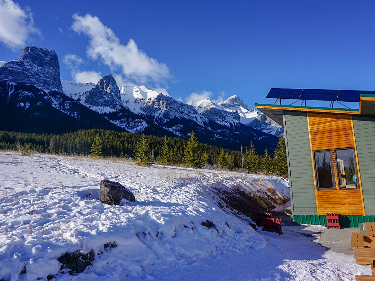 Views outside warming hut on Canmore Nordic Centre XC ski trail in Canmore near Banff National Park