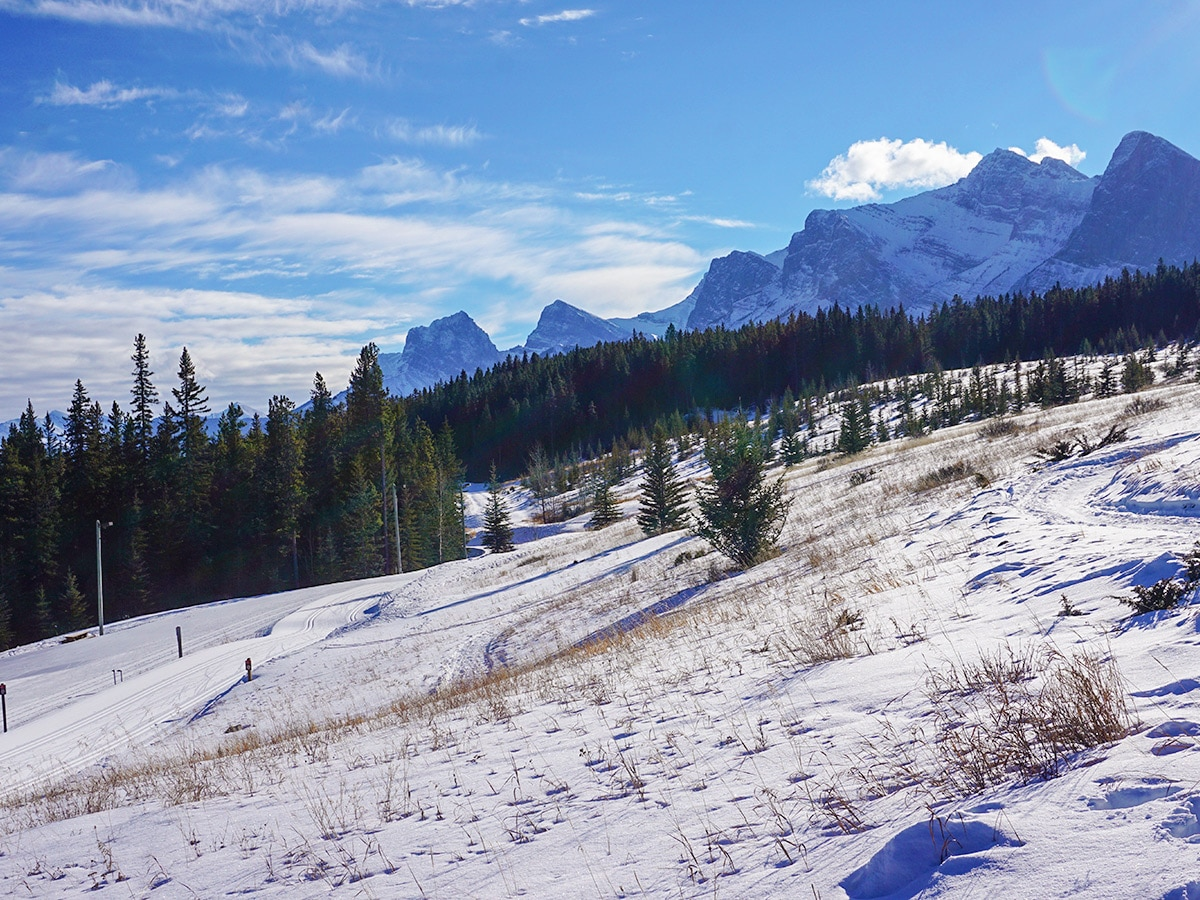 Early season skiing on Canmore Nordic Centre XC ski trail in Canmore near Banff National Park