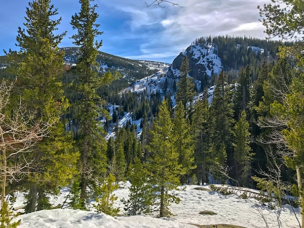Scenery from Lost Lake snowshoe trail in Indian Peaks, Colorado