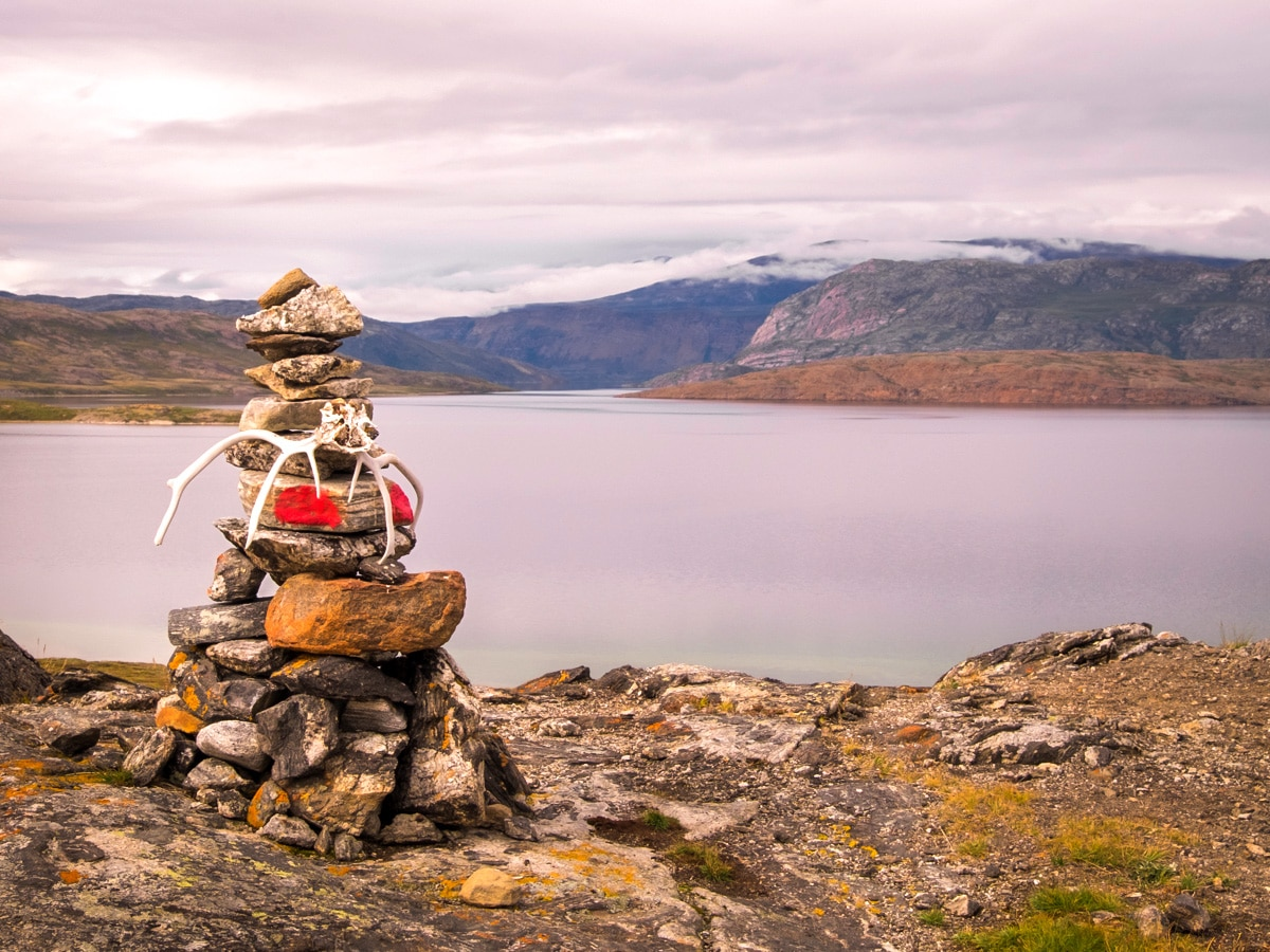 Stone cairn on the Arctic Circle Trail hike