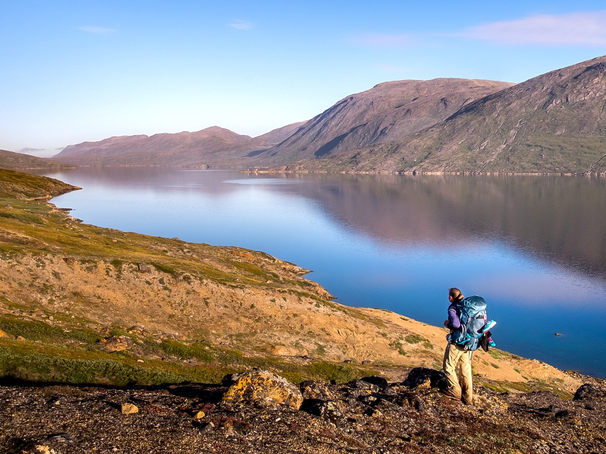 Looking out over the fjord on Arctic Circle Trail hike