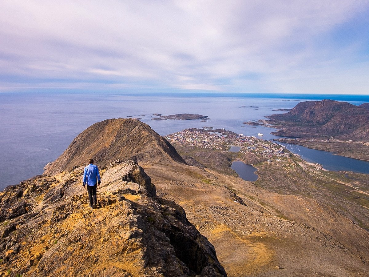 Nasaasaaq mountain summit on Greenland's Arctic circle trail