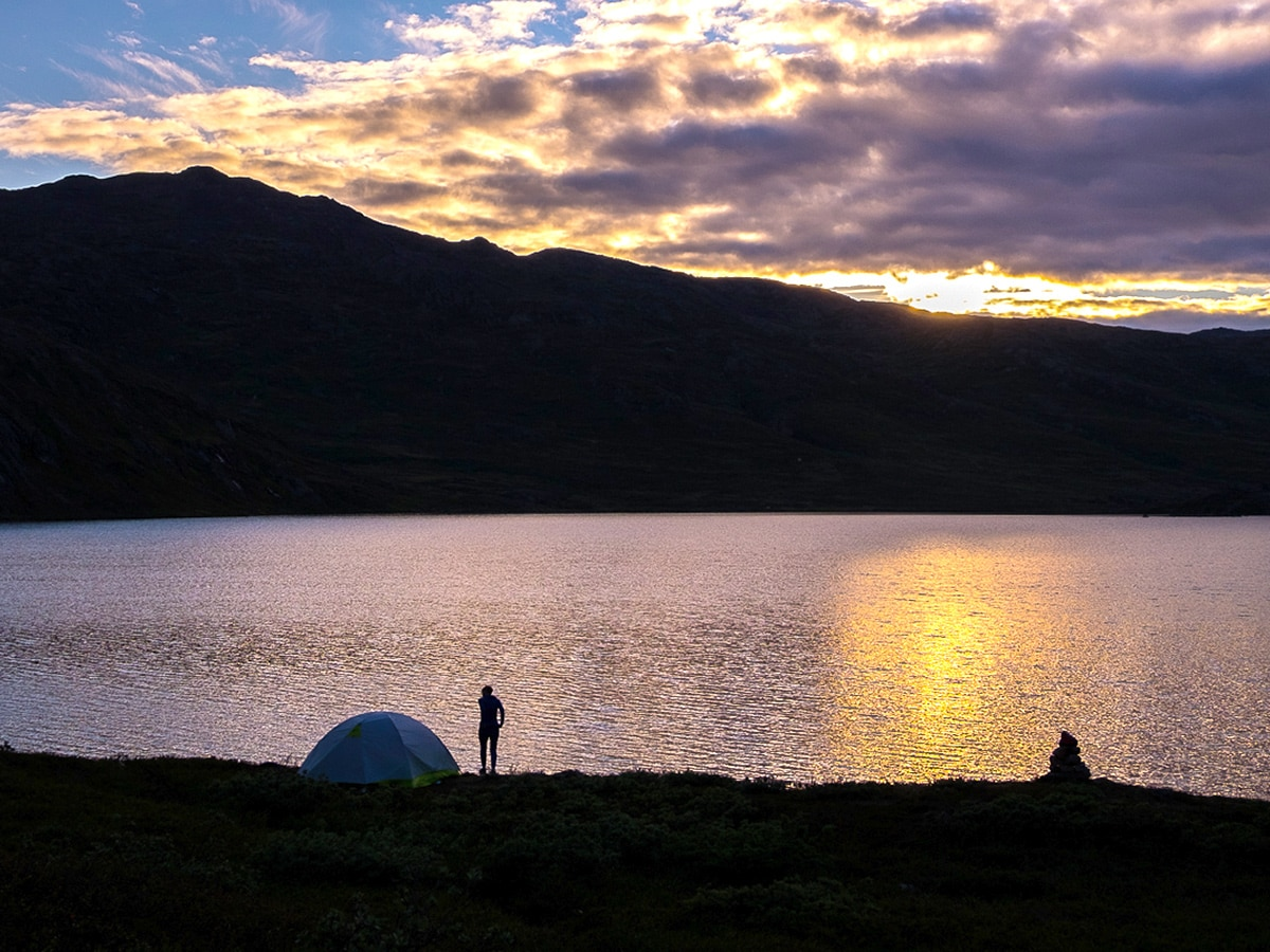Wild camping on day 5 on Greenland's Arctic circle trail
