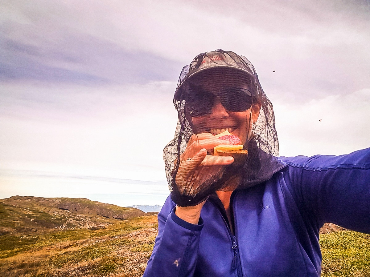 Challenging eating with a head net on Greenland's Arctic circle trail