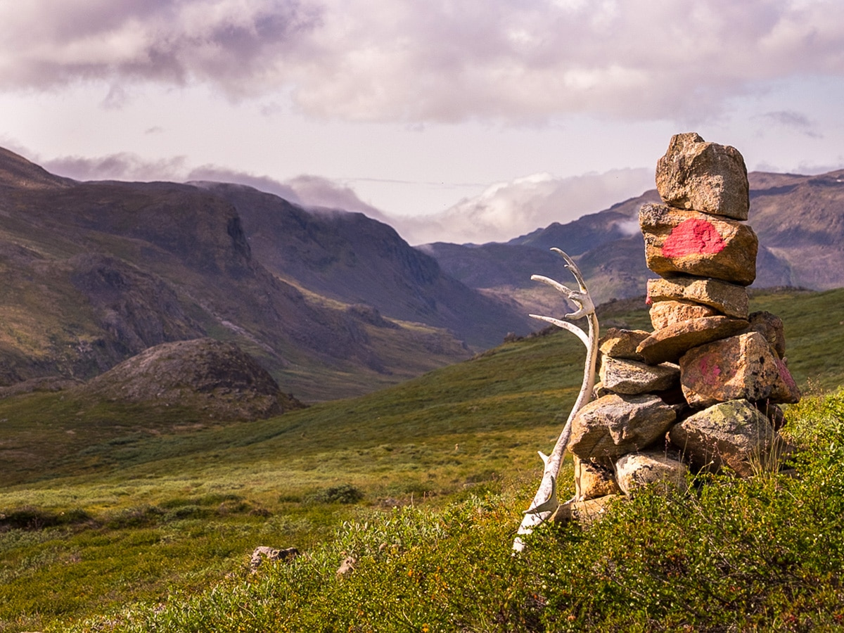 Typical cairn on Greenland's Arctic circle trail