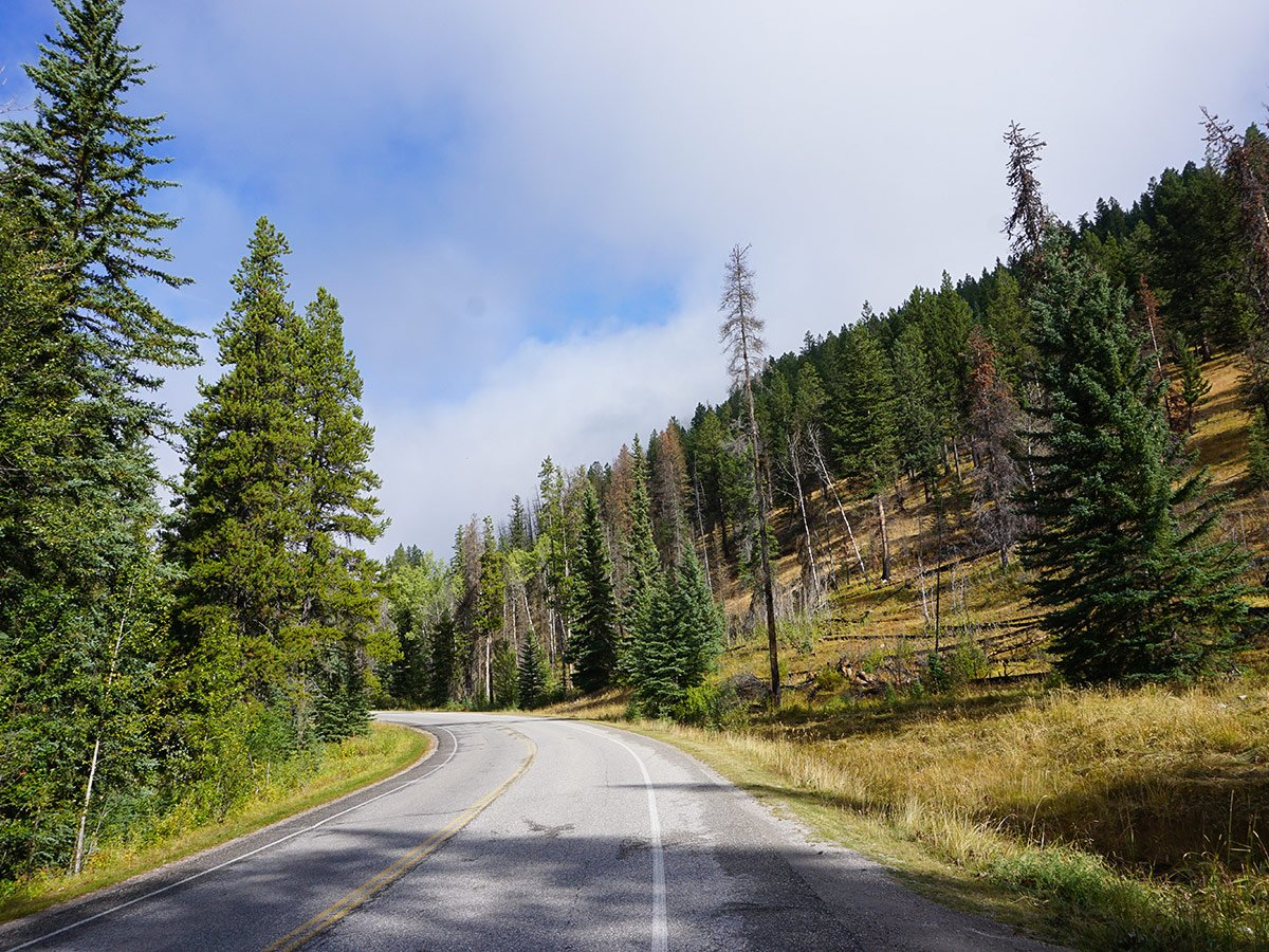 Quiet roads on Banff to Lake Louise road biking route in the Canadian Rockies