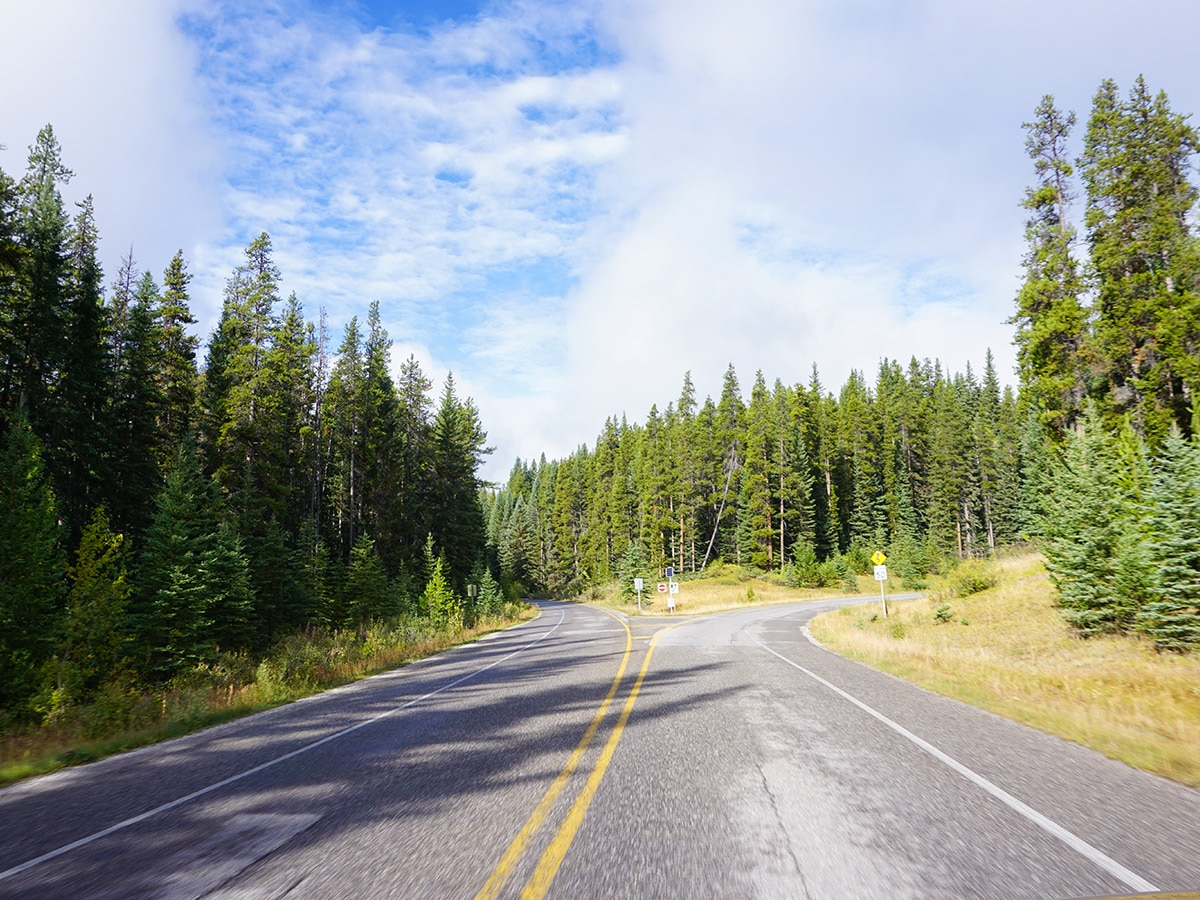 Open roads on Banff to Lake Louise road biking route in the Canadian Rockies