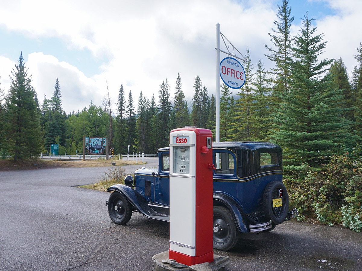 Old gas station at Johnston Canyon on Banff to Lake Louise road biking route in the Canadian Rockies