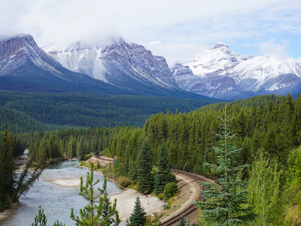 Stunning views of Banff to Lake Louise road biking route in the Canadian Rockies