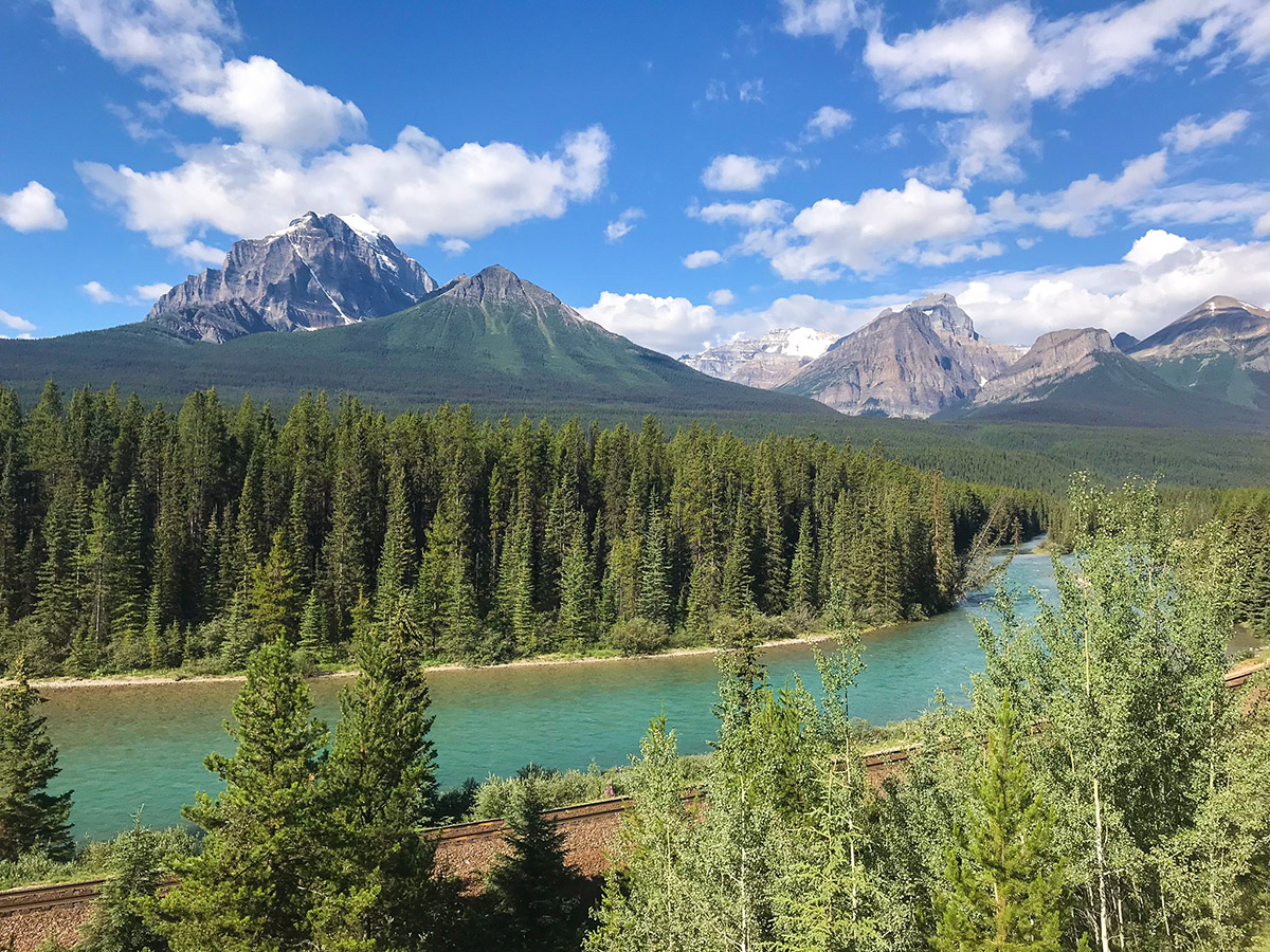 Great cycling trail of Banff to Lake Louise road biking route in the Canadian Rockies