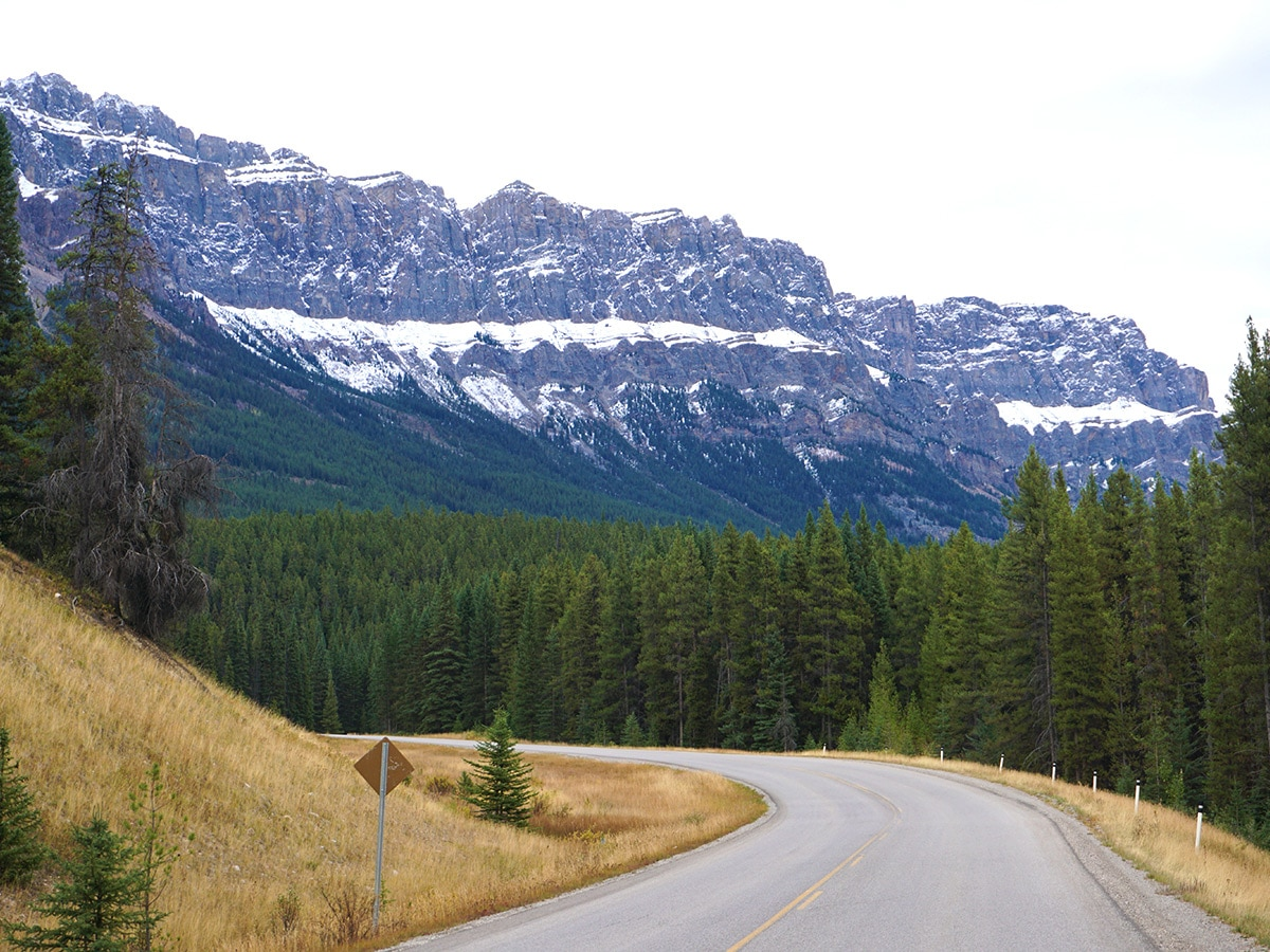 Stunning panorama on Banff to Lake Louise road biking route in the Canadian Rockies