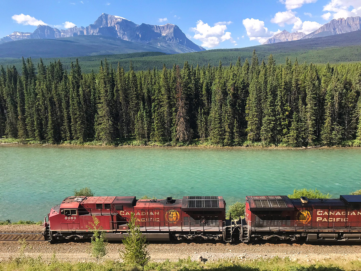 Train along Banff to Lake Louise road biking route in the Canadian Rockies
