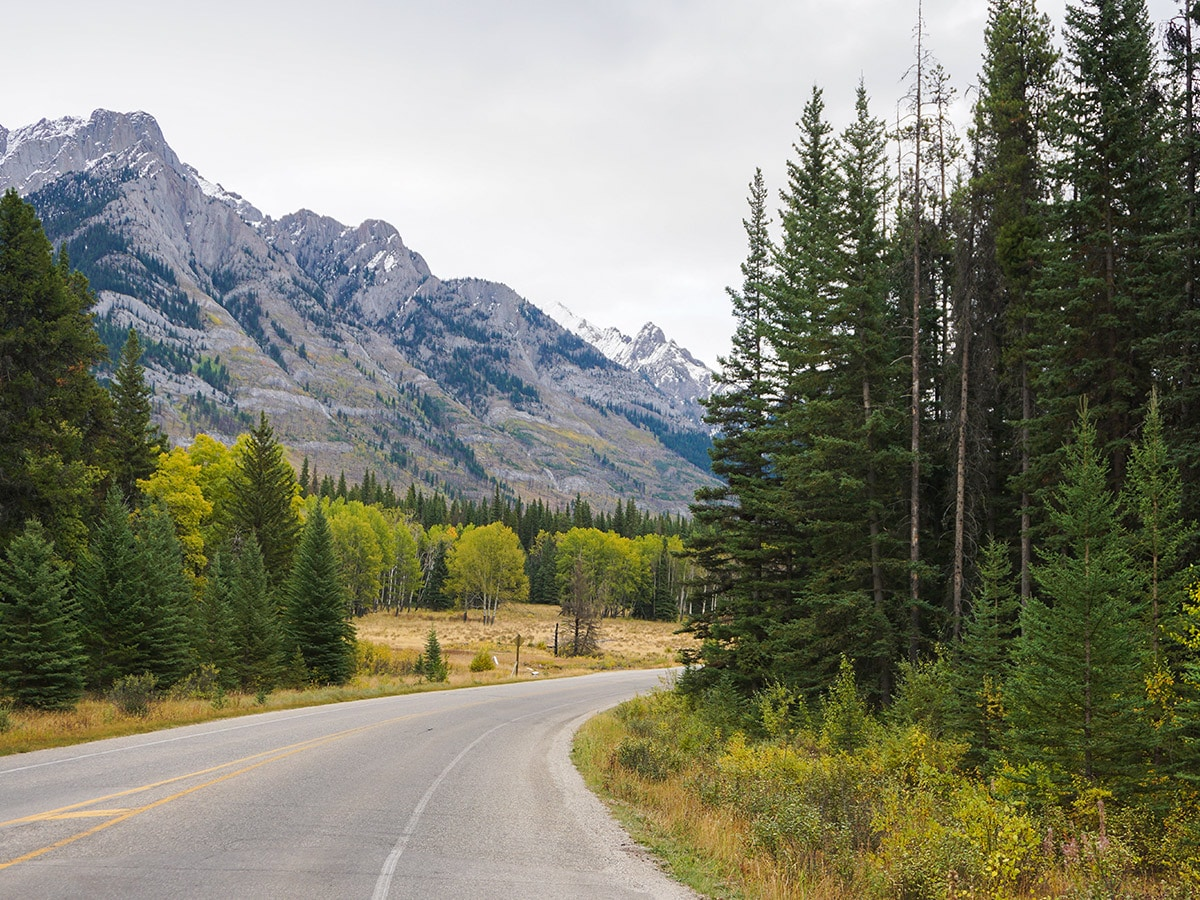 Stunning mountain panorama on Banff to Lake Louise road biking route in the Canadian Rockies