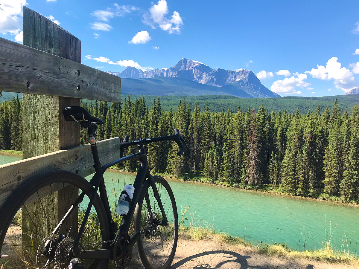 Stop near Bow River on Banff to Lake Louise road biking route in the Canadian Rockies
