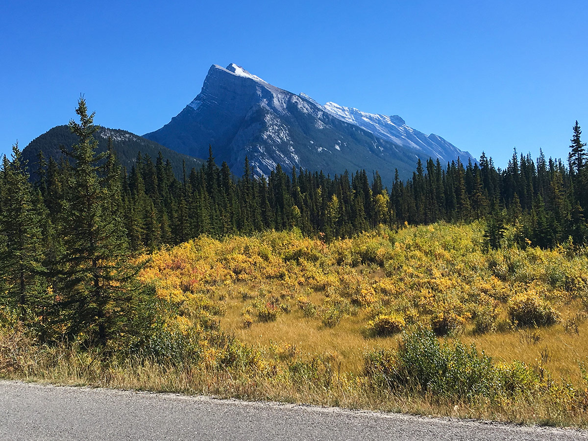 Approaching Banff on Banff to Lake Louise road biking route in the Canadian Rockies