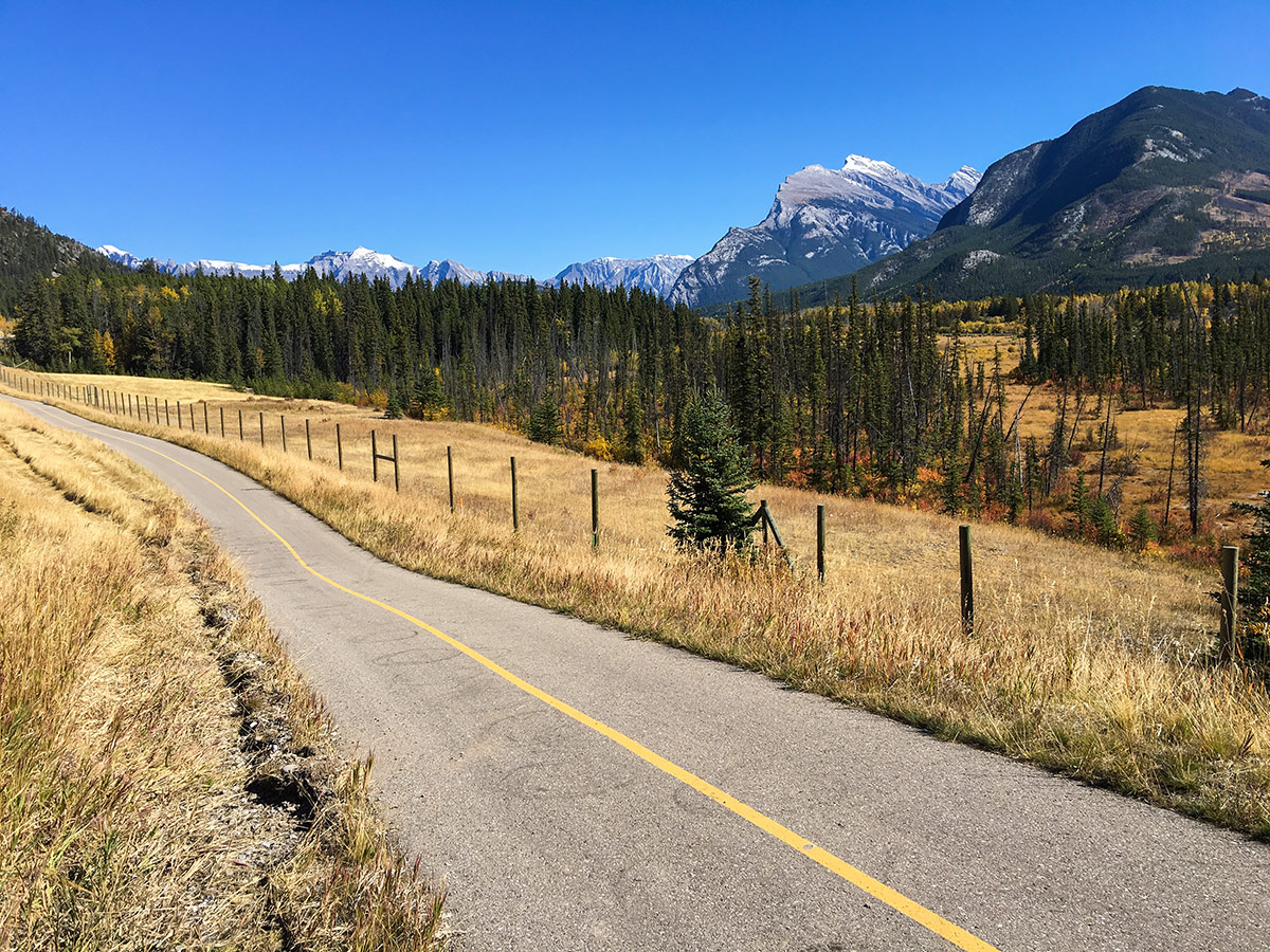 Path of Banff to Lake Louise road biking route in the Canadian Rockies