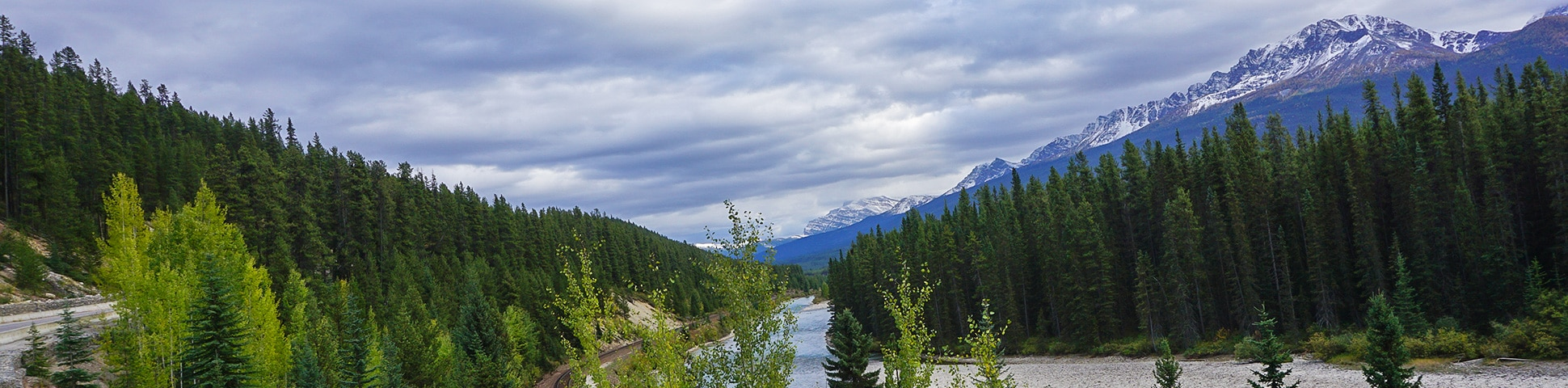 Panorama of Banff to Lake Louise road biking route in the Canadian Rockies