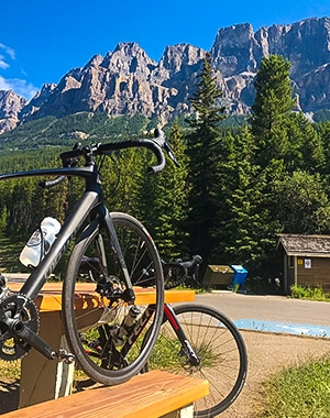 Banff to Lake Louise road biking route in the Canadian Rockies