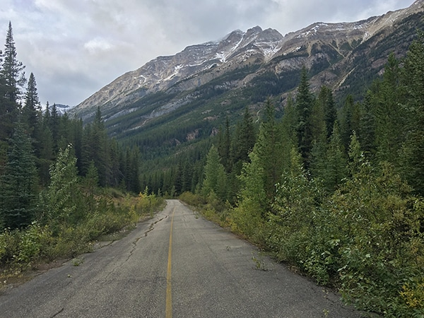 Scenery of Great Divide Route (1A) road biking route in Banff National Park, the Canadian Rockies