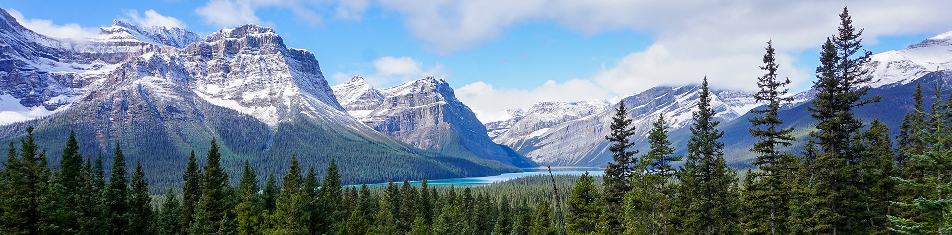 Panorama on Lake Louise to Bow Summit and Back road biking route in Banff National Park