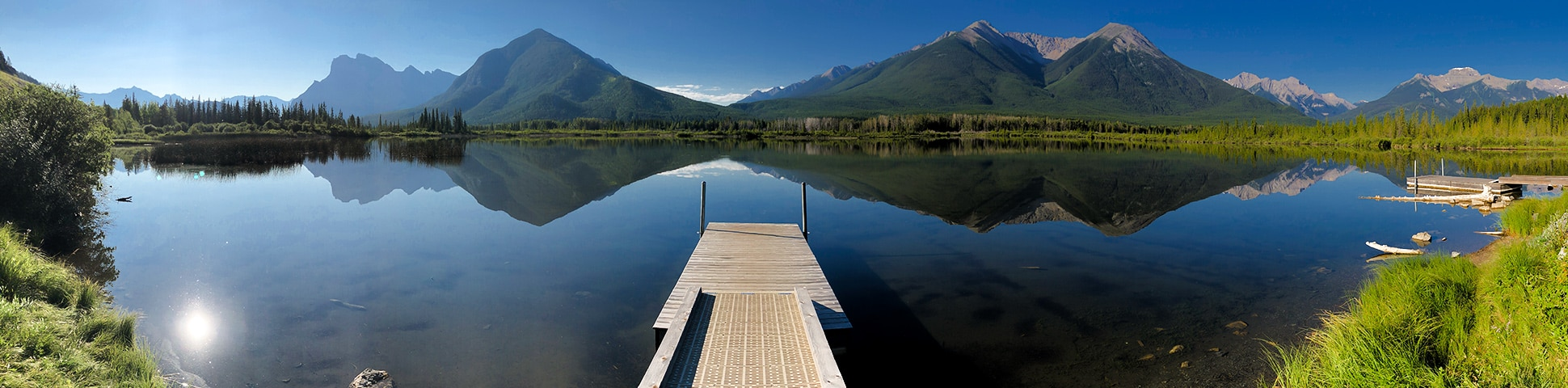 Panoramic view of Vermilion Lakes road biking route in Banff National Park, the Canadian Rockies