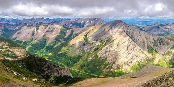 Panorama on Drywood Mountain Traverse scramble in Castle Provincial Park, Alberta