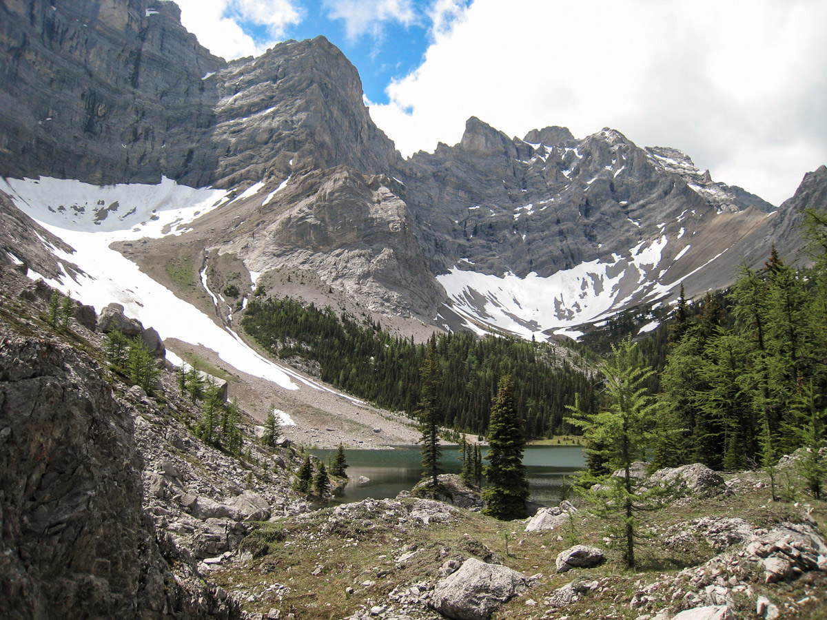 Stunning scenery on Tombstone Lakes backpacking trail near Kananaskis, the Canadian Rockies