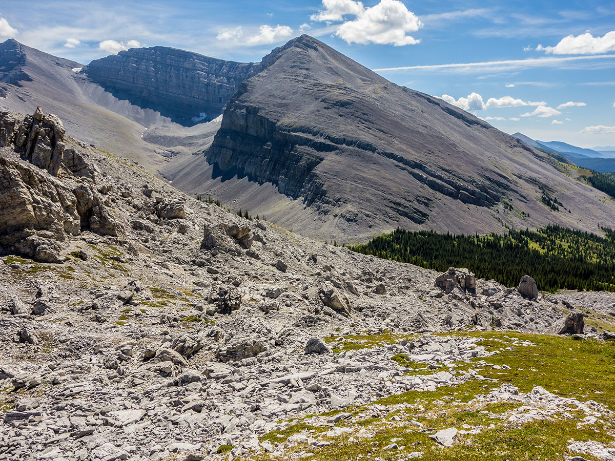 Amazing landscape on Weary Creek backpacking trail near Kananaskis, the Canadian Rockies