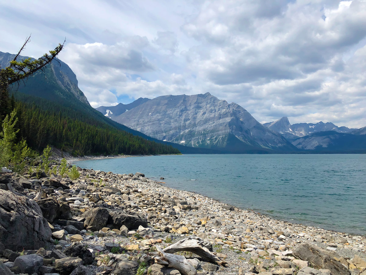 Shore views along Point Campground and Upper Kananaskis Lake backpacking trail in Kananaskis near Canmore