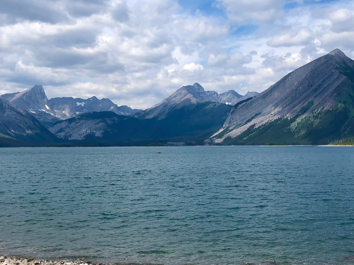 Views across the lake on Point Campground and Upper Kananaskis Lake backpacking trail in Kananaskis near Canmore