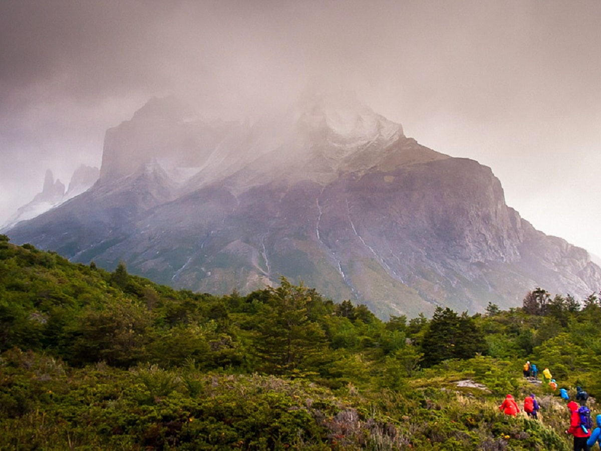 Hiking towards Los Cuernos in Torres del Paine National Park under less than ideal weather