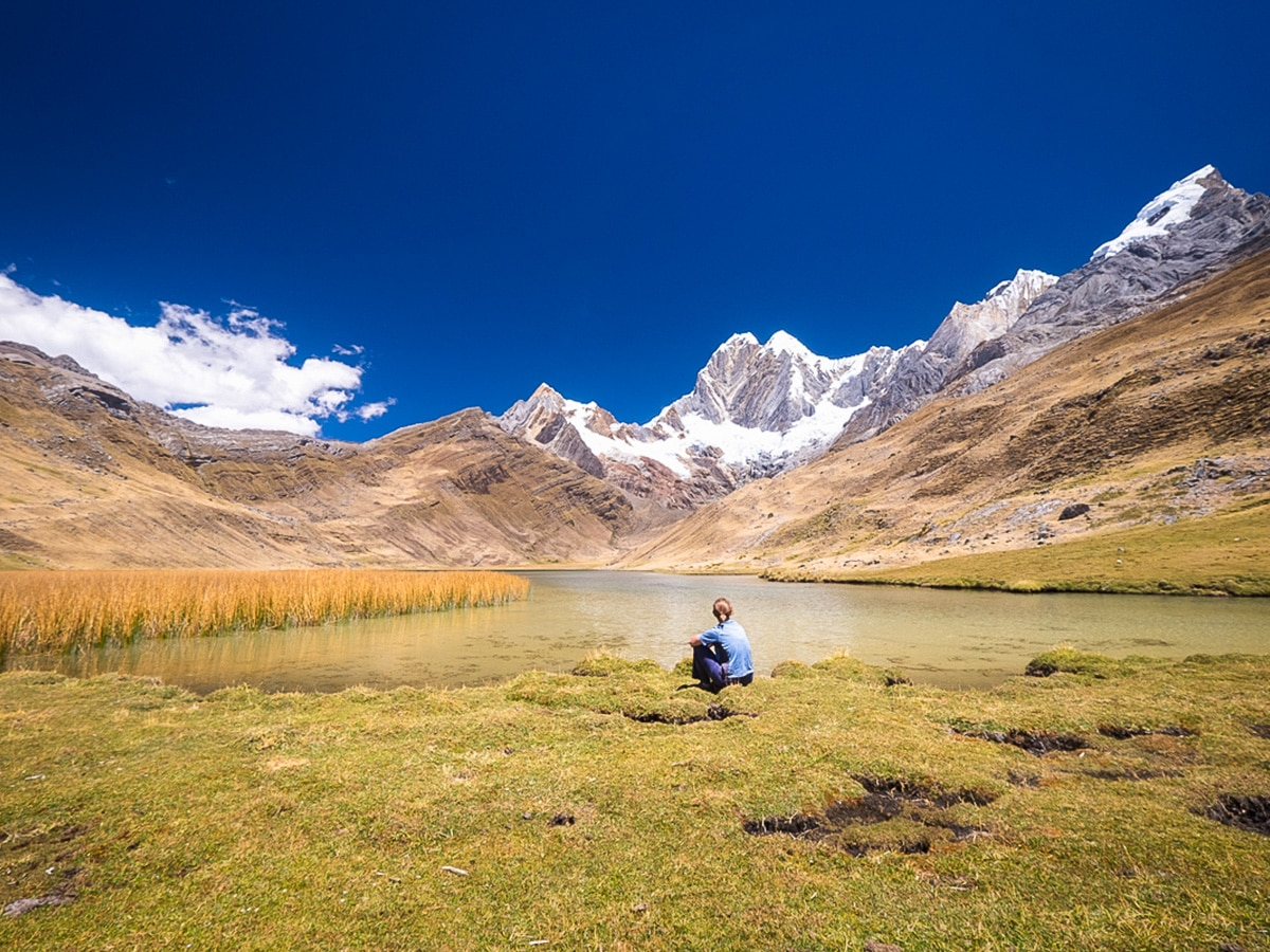 Taking time out on the Huayhuash Circuit Trek Peru last section